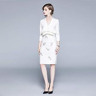 Robe de Mariage Robe Jupe Automne Faux Deux V-Cou Robe Robe D'Automne Mode/Noir/Xl, L-F, blanc, Xl