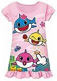 AOVCLKID Toddler Girls Baby Princess Pajamas Shark Cartoon Print Nightgown Dress (Pink,120/4-5Y)