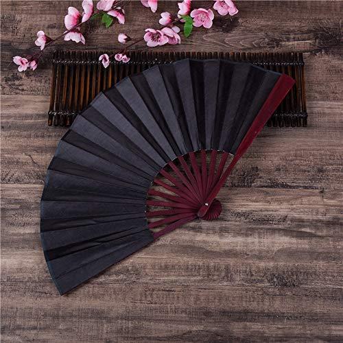 Bleyoum Abanico Plegable 1 Piezas Chino Japonés DIY Color Liso Bambú Grande Rave Abanico De Mano Plegable Suministros para Fiestas De Eventos para Hombres/Mujeres
