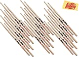 Vic Firth 5A American Classic Wood Tip Drumstick Bundle with Austin Bazaar Polishing Cloth - 12 Pack