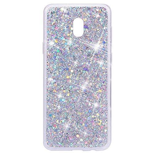Ekakashop Glitter Esagonale Stella Paillette Pattern Cover Case,Stile di Moda Lucido Custodia in Silicone Gel Sparkle Shine per Samsung Galaxy J7 2017/J730, Argento