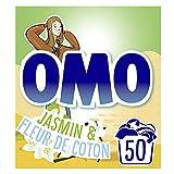 OMO Lessive Poudre Jasmin et Fleur de Coton, Testée dermatologiquement, Respectueuse des peaux sensibles, Propreté éclatante (50 Lavages)