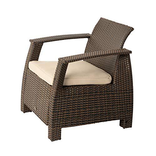 Patio Sense Bondi Deluxe Wicker Armchair | Mocha Brown Finish | All Weather Wicker | Khaki Cushion | Outdoor Comfortable Lounge Chair for Patio, Porch, Lawn, Pool, Backyard, Garden, Sunbathing |