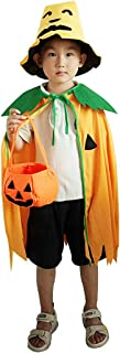 Coxeer Kids Halloween Costume Set Halloween Cape Pumpkin Hat Pumpkin Candy Bucket