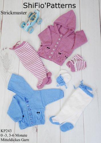 Stricklanleitung - KP243 -  Set für Babys: Jacke, Handschuhe, Hose -  Design...