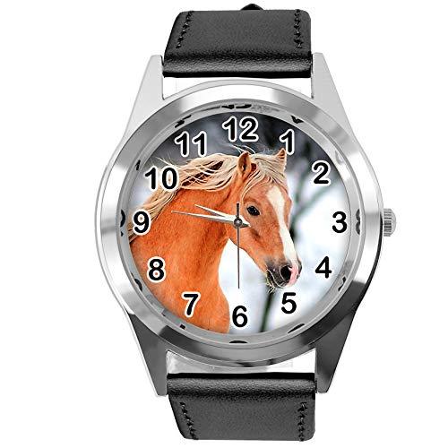 TAPORT® Runde Armbanduhr aus schwarzem Leder für schöne Pferde-Fans