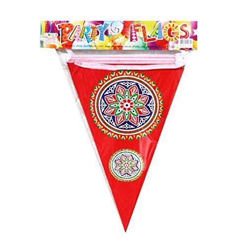 Hete-supply 2020 EID Mubarak Triangle Pull Flag, Feier des muslimischen Festivals Moon Star Banner Bunting, Eid-Dekoration, 8,53-9,84 Fuß