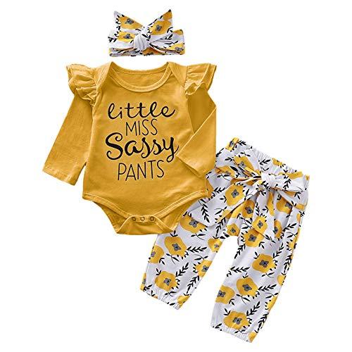 Asiprts - Conjunto de 3 piezas para bebé, otoño, invierno, cómodo pelele de manga larga + impresión elástica en la cintura + banda para ropa para niños de 3 a 24 meses, x3., 0- 3 meses