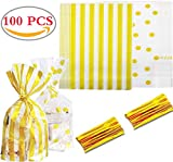 Liuer 100PCS Bolsas Regalo Cumpleaños Bolsas de Plástico Dulce Galletas Piscolabis Frutos Secos Caramelos Chocolate Papel Ideal para Bodas Cumpleaños o Fiestas de Navidad para Envolver los Favores