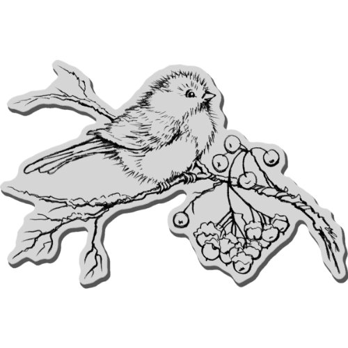 Stampendous 5,5 x 11,4 Snow Bird Christmas zelf rubber stempel hoeslaken, grijs