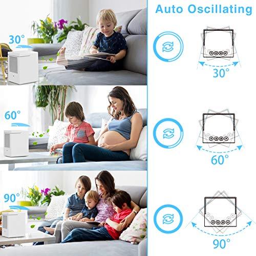 Mobile Klimageräte, infray mobile Klimaanlage mit 7 LED Farben, Ventilator mit Wasser Kühlung, air cooler oszillierend 90°, leise Luftkühler, Luftbefeuchter, 350ML Wassertank 3 Stufen 5000mAh