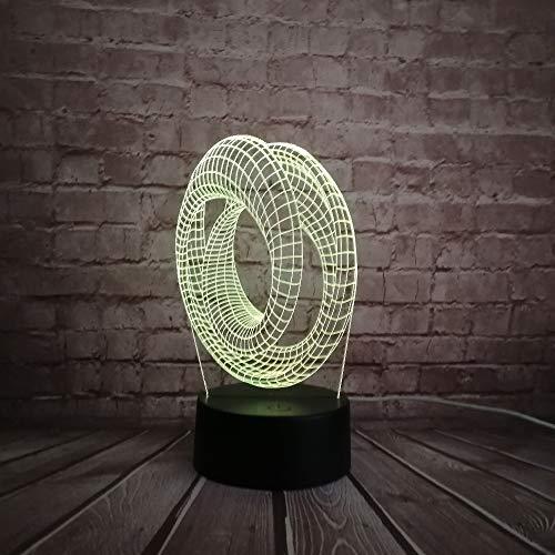 Doppel Ring Hohl Abstrakt 3D Usb Led Lampe Moderne Kunst Dekoration Acryl Beleuchtung Schreibtisch Lampe Nachtlicht Lava Geschenk Rgb Mit fernbedienung kind geschenk