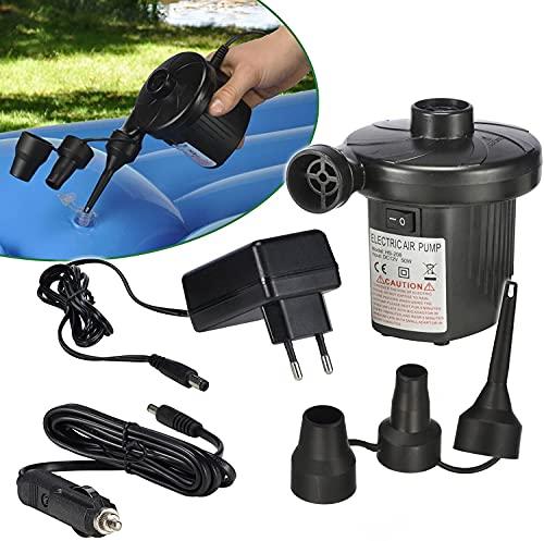 12 V/ 230 V Elektrische Luftpumpe Gebläsepumpe für Auf- & Abpumpen mit 3 Adaptern Camping Outdoor