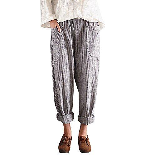 Lazzboy Frauen hohe Taille Vintage gestreifte lose Baumwolle Leinen Lange Hosen Pluderhosen(Schwarz,2XL)