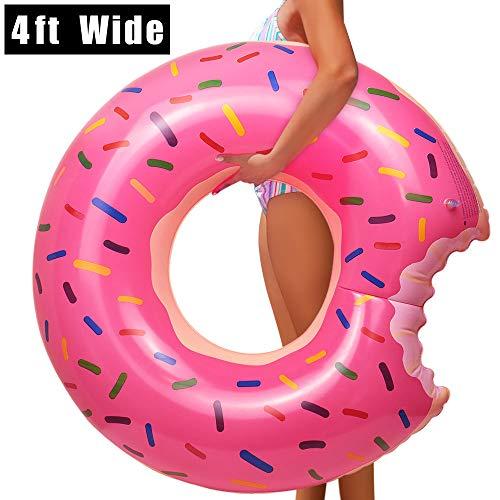YIJIAOYUN Giant Strawberry Donut Aufblasbarer Schwimmring, großes Sommer-Pool-Strandspielzeug, Schwimmrohr-Pool-Schwimmer für Erwachsene