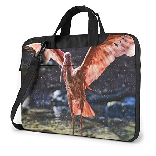 Hdadwy Red Ibis Plumage Printed Laptop Shoulder Bag,Laptop case Handbag Business Messenger Bag Briefcase 13 inch