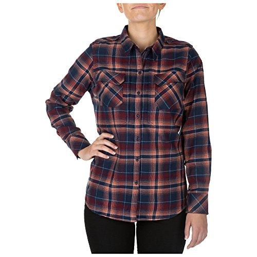 5.11 Tactical Series Chemise Heartbreaker Flannel Chemise à Carreaux en Flanelle très Confortable Femme Coral FR: L (Taille Fabricant: L)