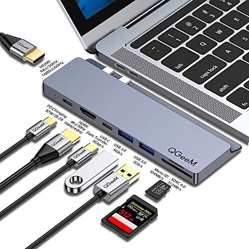 USB C Hub Adapter,QGeeM USB C Docking Stations,9 in 1 USB C to Dual 4K HDMI,USB C to USB,Type C SD/TF Uhs-II Card Reader,Compatible with MacBook Pro 2019/2018-2016,USB Dock