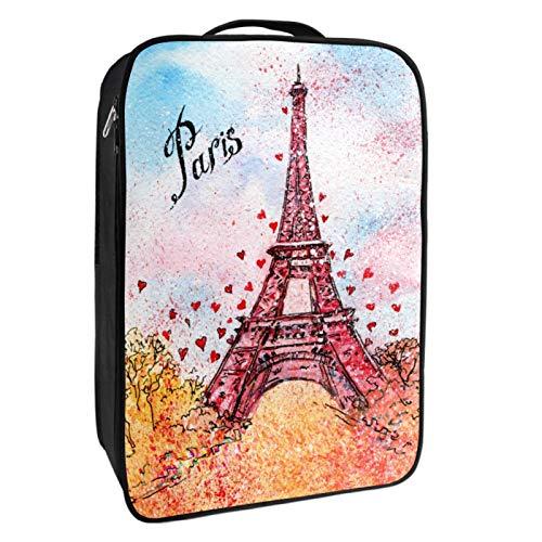 Caja de almacenamiento para zapatos de viaje y uso diario, pintura de la Torre Eiffel Roja, organizador de zapatos, portátil, resistente al agua, hasta 12 yardas, con doble cremallera y 4 bolsillos