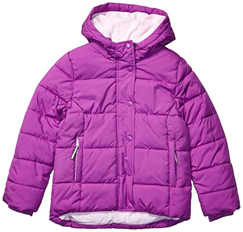 Amazon Essentials Girls' Toddler Heavy-Weight Hooded Puffer Coat, Bright Purple, 2T