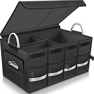 Oasser Trunk Organizer Cargo Organizer Trunk Storage Waterproof Collapsible Durable Multi Compartments with Foldable Cover Aluminium Alloy Handle Reflective Strip