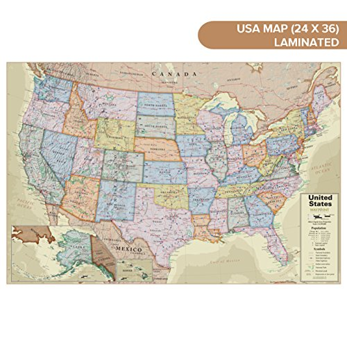 Waypoint Geographic Wall Map of The USA with Antique Ocean - Poster Size Wall Art (24