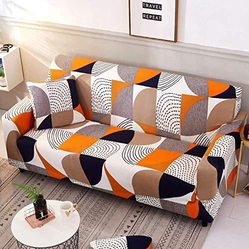 Carvapet, copridivano elasticizzato in tessuto elastico stampato per sedia, divano divano letto universale con angoli elasticizzati (arancione bianco, 3 posti)