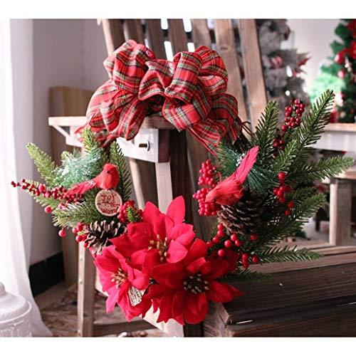 ZHongWei - Corona de Navidad Corona de Navidad, Adornos de Navidad Adornos de Puerta de la Pared Decorativos Ornamentos Colgantes Simulación Rota del árbol de Navidad Arboles de Navidad (Size : D)