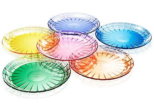 SCANDINOVIA - 24,9 cm unzerbrechliche Premium-Salat- oder Speiseteller – 6er-Set – Tritan-Kunststoff – BPA-frei – spülmaschinenfest