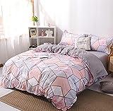 Damier Ropa de cama de mármol rosa y gris, 135 x 200 cm, diseño moderno de mármol, reversible, juego de cama de 2 piezas, funda nórdica con cremallera y 1 funda de almohada de 80 x 80 cm