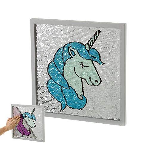 Cuadro de Lentejuelas Azul de Unicornio Infantil para Dormitorio de 35 x 35 cm Child - LOLAhome