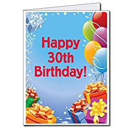 2 x3 Giant Presents and Balloons 30th Birthday Card W Envelope