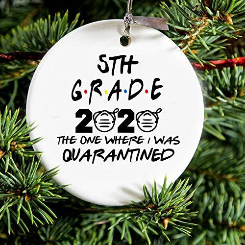 EricauBird Christmas Decoration-Quarantined 5th Grade Class of 2020 Christmas Ornament Gift, Quarantine Gift, Graduate, Graduation Gift Friends Quote 5th Grade, Christmas Ornament