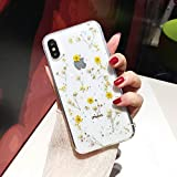 Shinymore iPhone 7/8 iPhone SE 2020 Flower Case, Soft Clear Flexible Rubber Pressed Dry Real Flowers Case Girls Glitter Floral Cover for iPhone 7 iPhone 8 iPhone SE 2nd Generation-Yellow