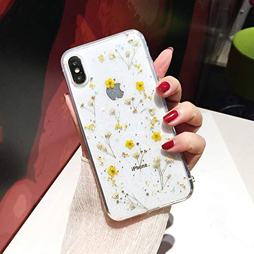 Shinymore iPhone 11 Flower Case, Soft Clear Flexible Rubber Pressed Dry Real Flowers Case Girls Glitter Floral Cover for iPhone 11 -Yellow