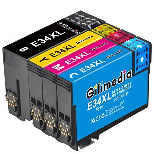 Gilimedia Cartucho de tinta 34XL compatible con Epson Workforce Pro WF-3725DWF WF-3720DWF WF3725DWF WF3725DWF WF3720DWF WF3725 WF3720 (1 negro, 1 cian, 1 magenta y 1 amarillo)