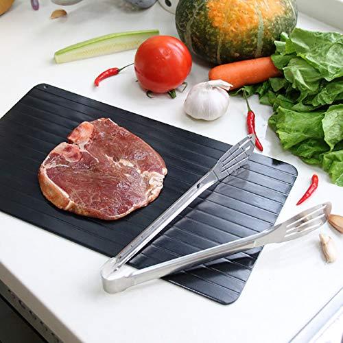Auftauplatten Abtautablett Aluminium Mit Silikonrand Natürliches Aufgetautes Steakfutter Fleisch Fisch Schnell Auftauende Platte Küchenhelfer-Werkzeug
