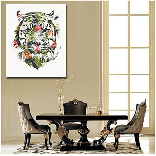 Zhaoyangeng Nordic tijger mooie cartoon animal print canvas schilderij wandschilderijen voor woonkamer foto's op de muur kunst Home Decor- 50X70cm zonder lijst