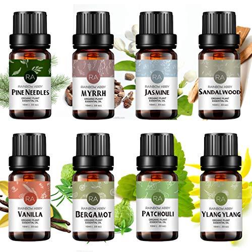 Top 8 Essential Oil Set 100% Pure Aromatherapy Oil (Sandalwood, Jasmine, Vanilla, Bergamot, Patchouli, Ylang Ylang, Pine Needle, Myrrh) - 8 x 10ml