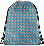 Drawstring Backpack Gym Spacious Pull String Backpack for Sport School Traveling Gym Basketball Yoga 13x18 inch13x18 Inch(Micro Scale) Hotdogs - Red On Blue - Food C18BS_5125