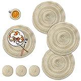 DONQL Set di 4 tovagliette rotonde lavabili, in cotone, rotonde, lavabili con 4 sottobicchieri, adatte per cucina, tavolo da pranzo, diverse decorazioni (beige)