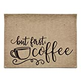 chillake Rustic Burlap Coffee Bar Mat - But First Coffee Vintage Waterproof Placemat Easy to Clean - Natural Jute Coffee Maker Mat for Coffee Bar Home Decor Parties Daily Use(12x16 Inches)