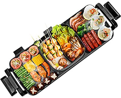Moongiantgo 2 in 1 Electric BBQ Grill Indoor Hot Pot 2200W Non-Stick Baking Pan Separate Dual Temperature Control Smokeless Barbecue Machine Suitable for 3-8 People Gatherings (Double, 110V US Plug)