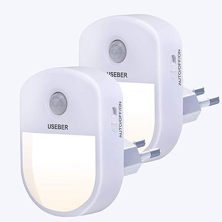 Lampe Nuit [Lot de 2], Useber Veilleuse LED avec Détecteur de Mouvement Capteur de Lumière, 3 modes (Auto / Marche / Arrêt),Veilleuse Enfant pour Chambre Bébé, Salon, Garage, Salle de Bains et Couloir