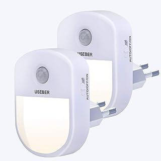 Lampe Nuit [Lot de 2], Useber Veilleuse LED avec Détecteur de Mouvement Capteur de Lumière, 3 modes (Auto/Marche/Arrêt),Ve...