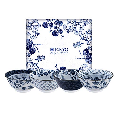 TOKYO design studio Flora Japonica 4-er Schalen-Set blau-weiß, Ø 14,8 cm, 7 cm hoch, ca. 500 ml, asiatisches Porzellan, Japanisches Blumen-Design, inkl. Geschenk-Verpackung
