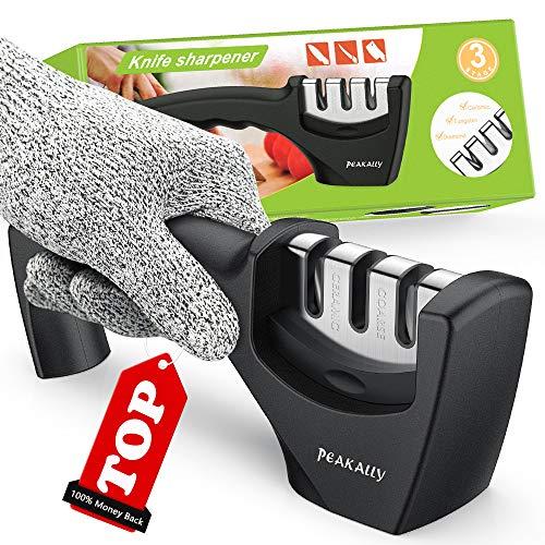 Peakally Best Kitchen Knife Sharpener,Upgraded 3-Stage Blades Sharpener Stone(Ceramic,Coarse,Fine).Best For Chef/Fillet Knives.Easy Manual Sharpener,Cut-Resistant Glove for More Safe Sharpening.