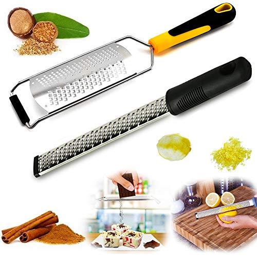 BESYZY Premium Zester Reibe Käsereibe Gemüseschneider rasiermesserscharfe Edelstahl Klinge gut für Ingwer, Muskat, Zitrone, Zitrus, Knoblauch, Schokolade, Gemüse, Obst