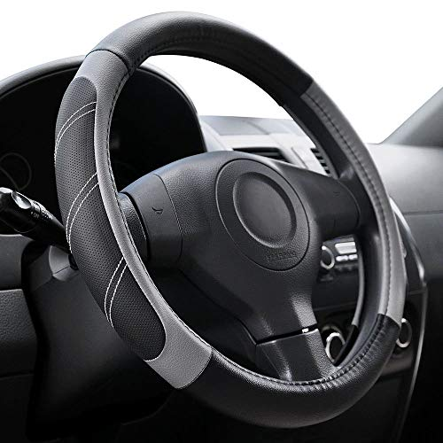 15-16-Inch BDK Genuine Leather Steering Wheel Cover-Gray Large 100-Percent Odorless