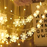 Christmas Lights, Snowflake String Lights 19.6 ft 40 LED Fairy Lights Battery Operated Waterproof for Xmas Garden Patio Bedroom Party Decor Indoor Outdoor Celebration Lighting (Warm Color)